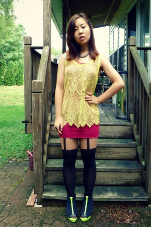 chartreuse Forever 21 top - black H&M shoes - black Topshop tights
