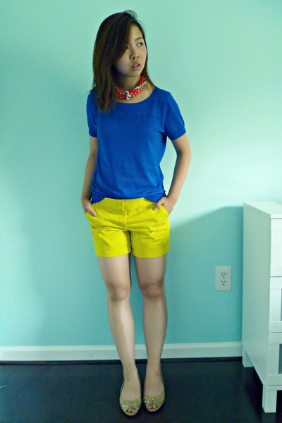 Yellow JCrew Shorts, Nude From China Shoes, Blue The Limited ...