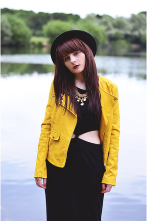 gold leather Membersonly jacket - mustard gold ringsandtings necklace