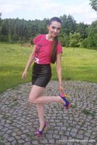 black leather skirt Sheinside skirt - blue OASAP heels - hot pink rue21 t-shirt