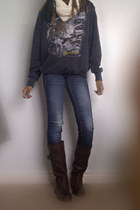cotton thrifted sweater - brown riding Steps boots - garage jeans