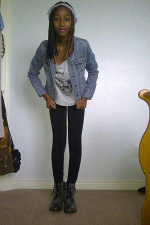 denim Old Navy jacket - Betsey Johnson boots - sears leggings