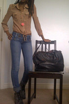 brown tote thrifted bag - black combat Betsey Johnson boots