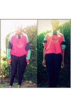 hot pink adidas sweatshirt - leggings - H&M sunglasses