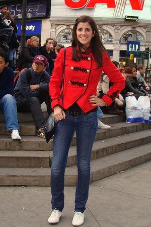 red Topshop jacket - black vintage bag - blue Levis jeans - white Topshop shoes