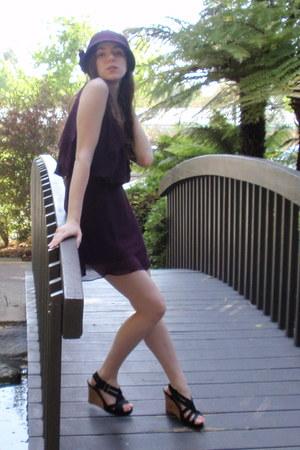 purple wool CC Exclusives hat - purple chiffon Forever 21 dress