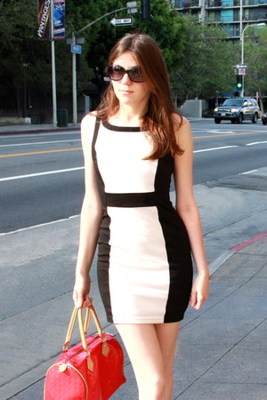 light pink Mix No 6 shoes - black Forever 21 dress - red arcadia bag