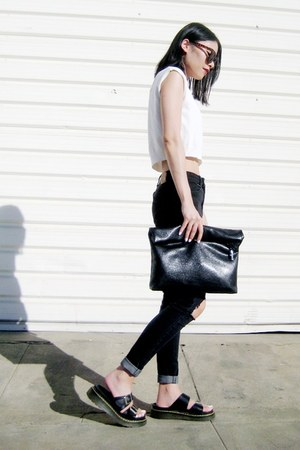 black BangGood bag - white OASAP top