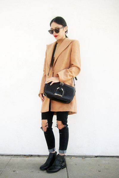 camel Sheinside coat - black ripped slim sheinisde jeans