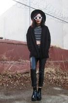 Wholesale7 boots - romwe coat - zeroUV sunglasses - Wholesale7 pants