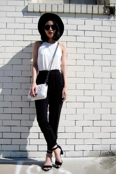 white BangGood bag - dark brown romwe sunglasses - white romwe vest