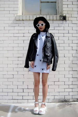 white BangGood bag - periwinkle Choies dress - white zeroUV sunglasses