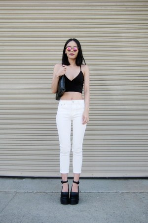 cream Missguided jeans - black Missguided sunglasses - black Missguided top