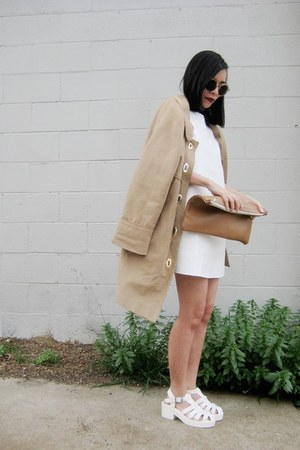 white Missguided dress - tan toggle thrifted vintage coat