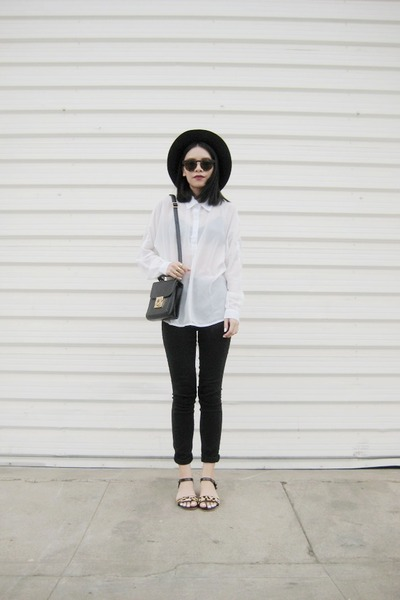 black BangGood bag - white BangGood blouse - BangGood ring
