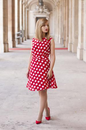 red Bershka shoes - red BonPrix dress