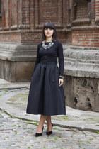 Zara necklace - silver PERSUNMALL bracelet - black new look blouse
