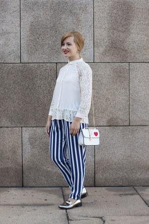 gold Zara loafers - blue Zara pants - white Zara blouse