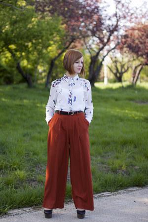 black new look shoes - ivory tidebuy blouse - burnt orange H&M pants