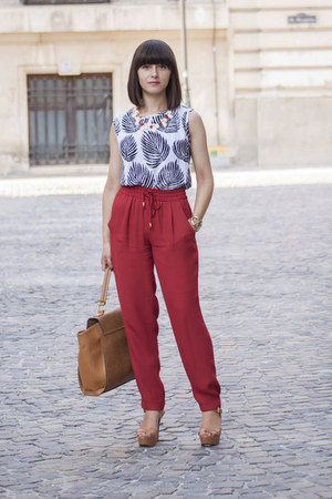 red Zara pants - tan Parfois bag - white PERSUNMALL blouse