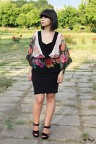 ivory H&M blouse - black new look skirt - black new look sandals