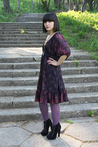 navy Mineli Boutique boots - deep purple Orsay dress - gold H&M ring