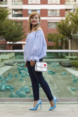 navy Zara jeans - light blue zaful blouse - turquoise blue AmiClubWear heels