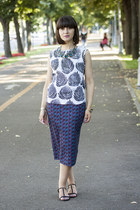 blue Zara skirt - black Zara sandals - white PERSUNMALL top