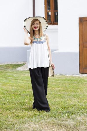 white Mango top - off white Koton hat - black H&M pants