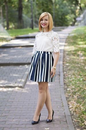 black Zara shoes - navy Stradivarius skirt - white Sheinside blouse