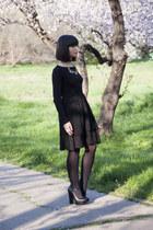 black Mango dress - black new look blouse - black Zara heels