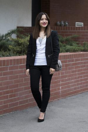 black Zara jeans - black H&M blazer - white H&M t-shirt
