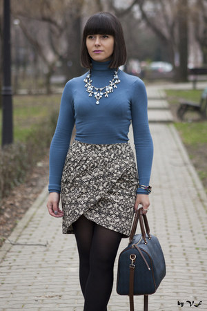 teal Tally Weijl sweater - black asos skirt - Zara necklace
