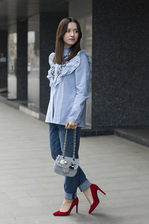 light blue sammydress shirt - sky blue H&M jeans - red Bershka heels