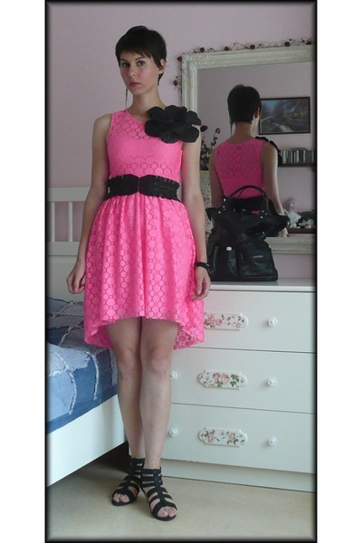 black fake leather H&M belt - hot pink lace H&M dress