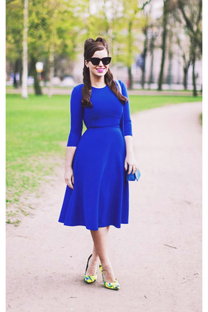 blue asos dress - blue asos bag - black asos sunglasses