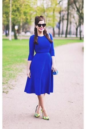 blue asos dress - blue asos bag - black asos sunglasses