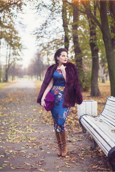 deep purple asos coat - bronze Bershka boots - teal asos dress