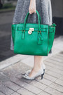 Heather-gray-asos-dress-white-asos-shirt-green-michael-kors-bag