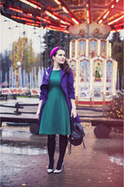 hot pink Catarzi hat - teal Sultanna Frantsuzova dress - black asos bag