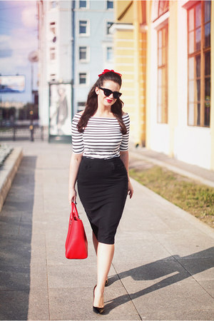 black asos sunglasses - red Rebecca Minkoff bag - black asos skirt