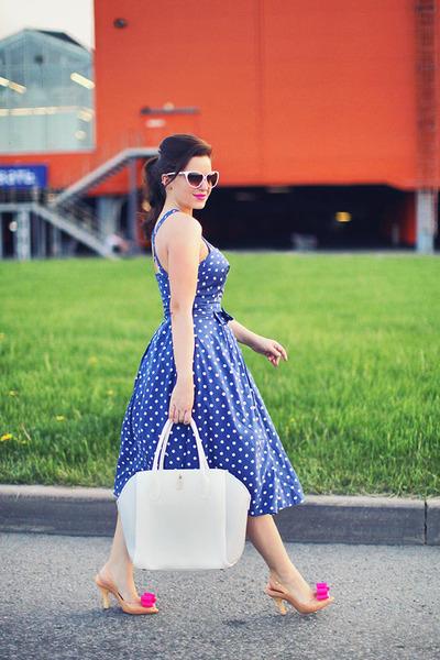 white Furla bag - blue Emily&Fin dress - white Mango sunglasses