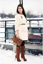 suede Bershka boots - faux fur asos coat - suede Mango bag
