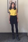 Black-leather-bronx-boots-yellow-thrifted-top-black-skort-vintage-skirt