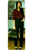 H&M sweater - belt - Stefanel pants - Esprit purse - shoes