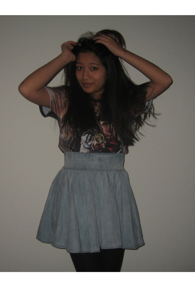 sky blue H&M skirt - brick red harry potter t-shirt - black stockings