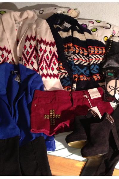 Primark shorts - H&M blazer - H&M cardigan - Primark cardigan - Primark heels