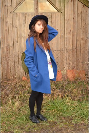 blue coat - olive green h&m divided bag - black Zara flats
