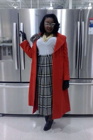 brown pleated skirt - black vintage oxfords boots - red long coat