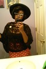 Black-vintage-michael-howard-hat-red-shirt-tan-polka-dot-cardigan
